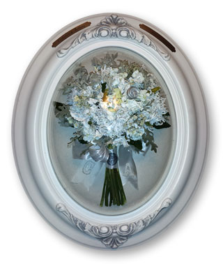 preserved wedding bouquet in frame