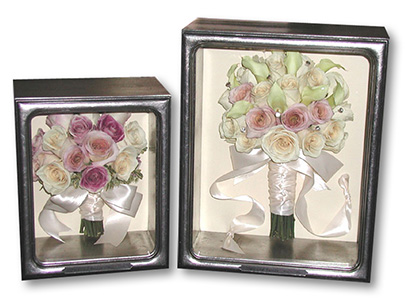 bridal bouquets preserved in silver shadow boxes