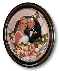 wedding couple and flowers